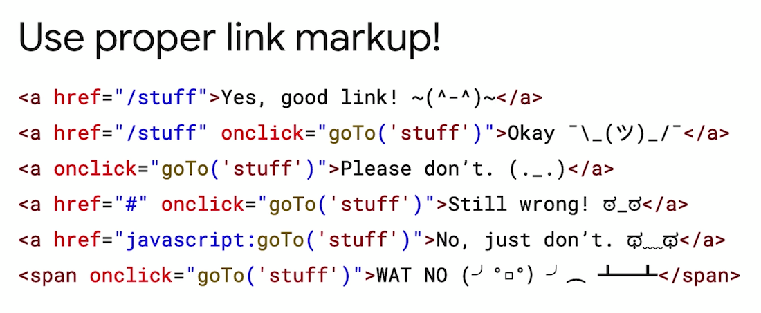 """Use proper link markup"" di Google"