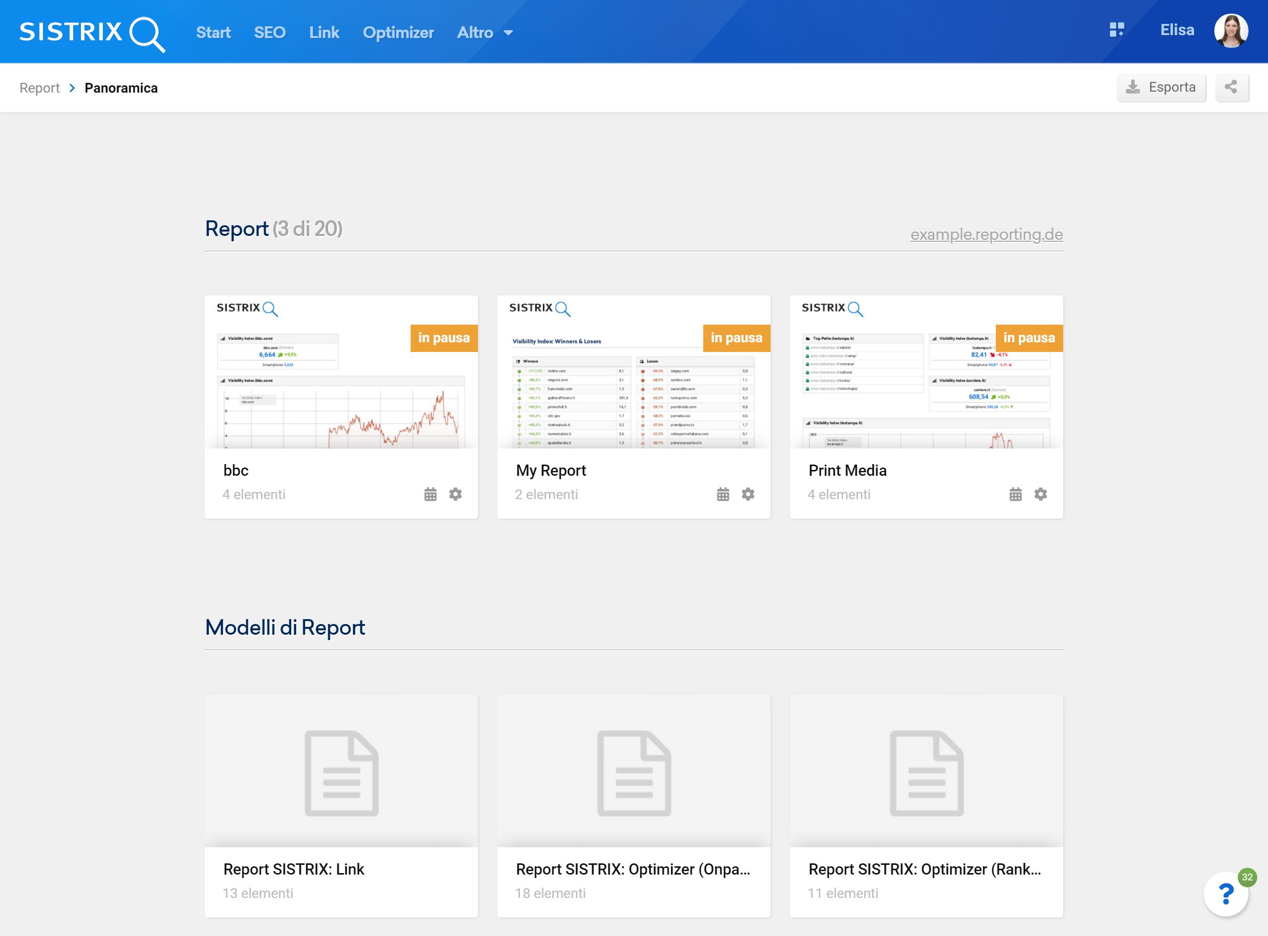I modelli di report nel Toolbox SISTRIX