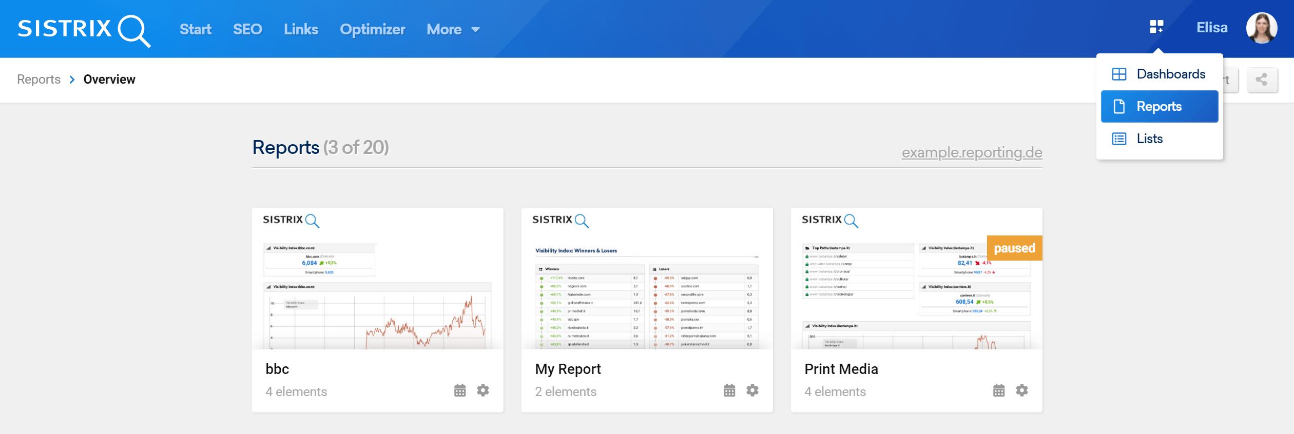 Sezione di panoramica dei Report nel Toolbox SISTRIX