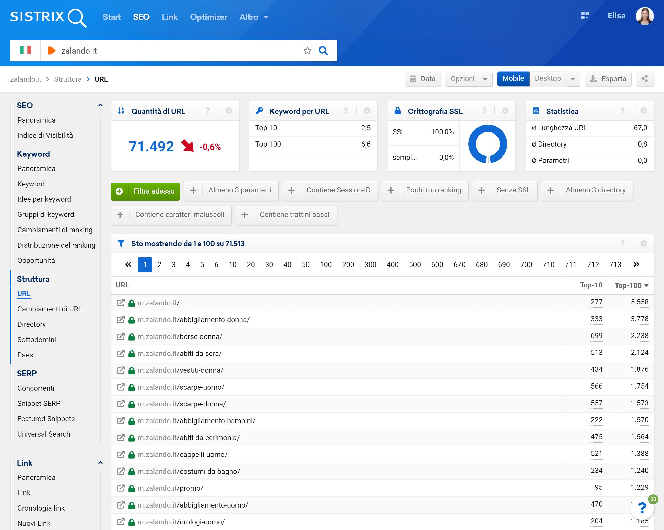 Sezione URL nel Toolbox SISTRIX