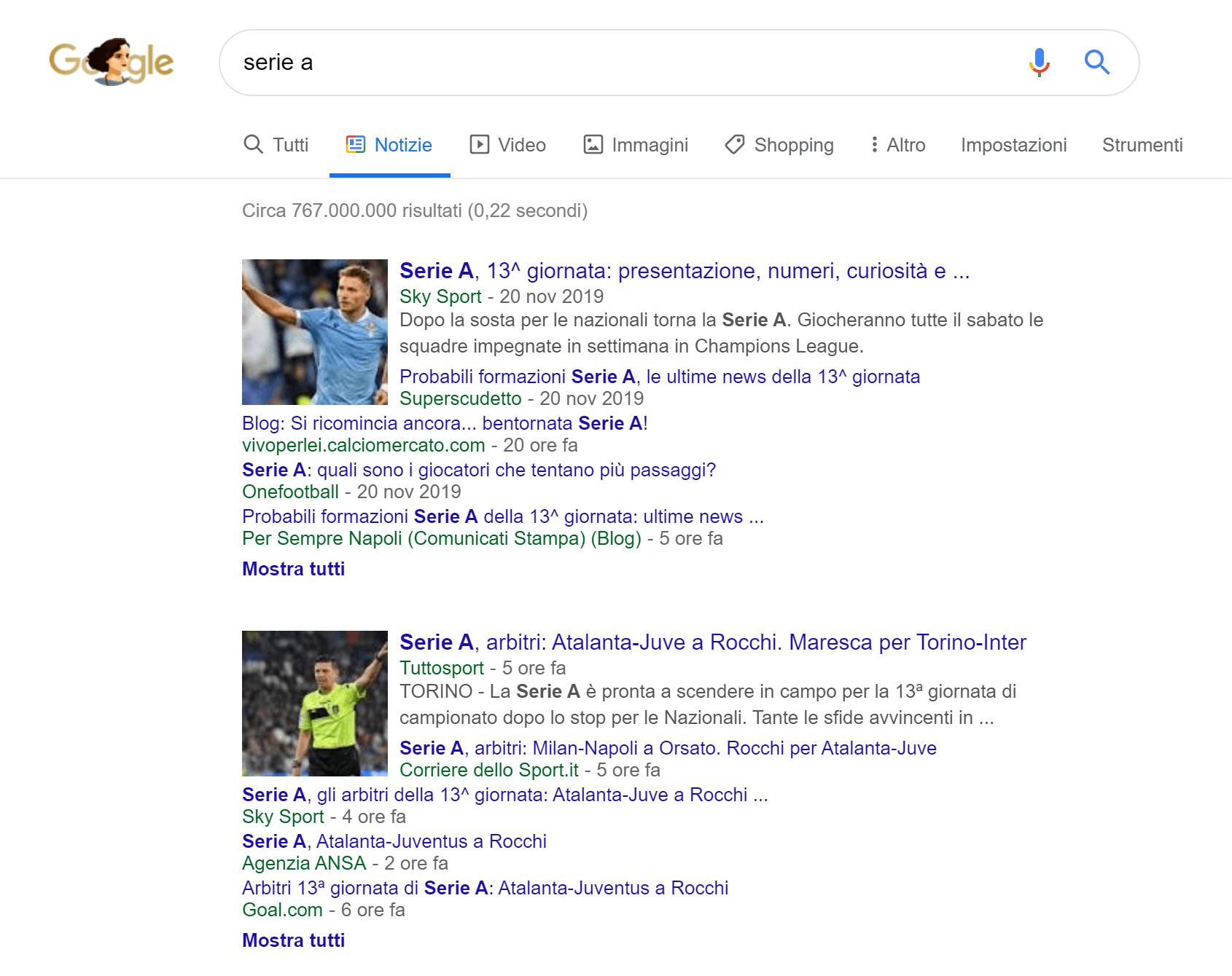 """Sezione """"Notizie"""" di Google"""