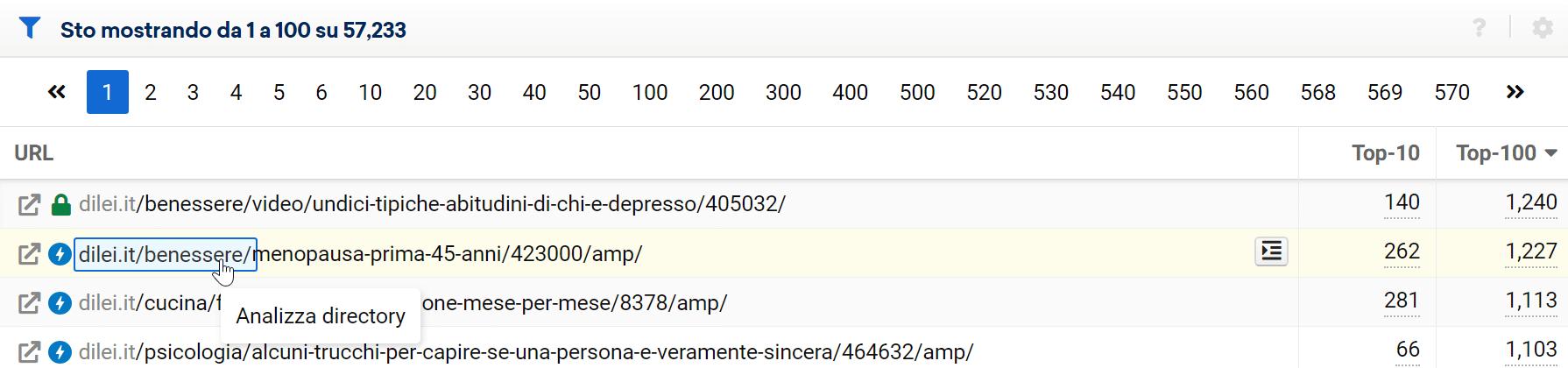 Passando il mouse sopra all'URL potrai selezionare la parte di esso da analizzare