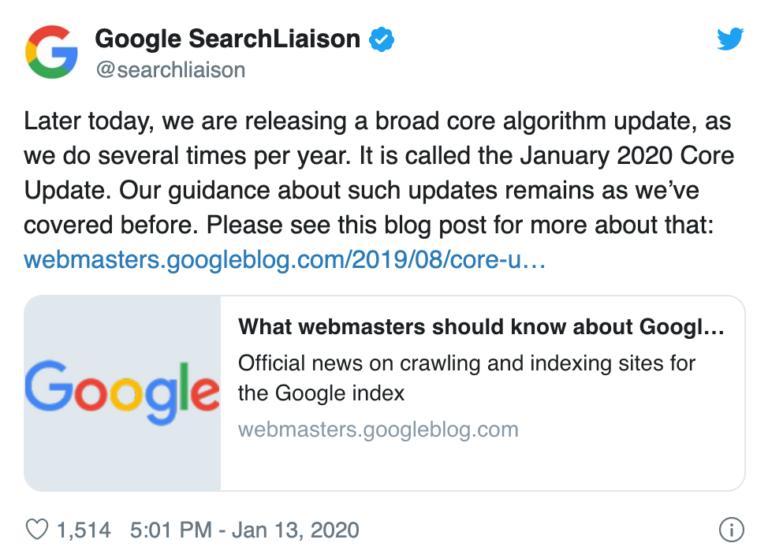 Google annuncia il January 2020 Core Update
