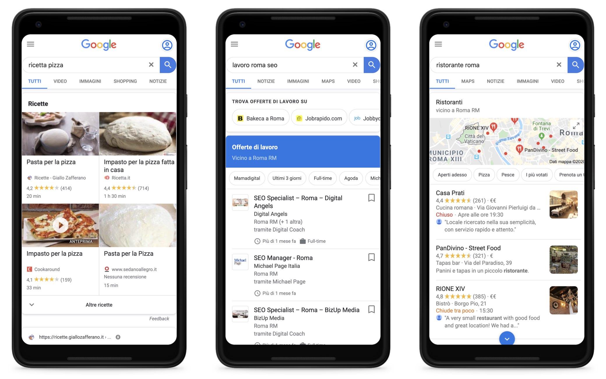 Esempi di risultati per ricerche relative a ricette, offerte di lavoro e ristoranti.