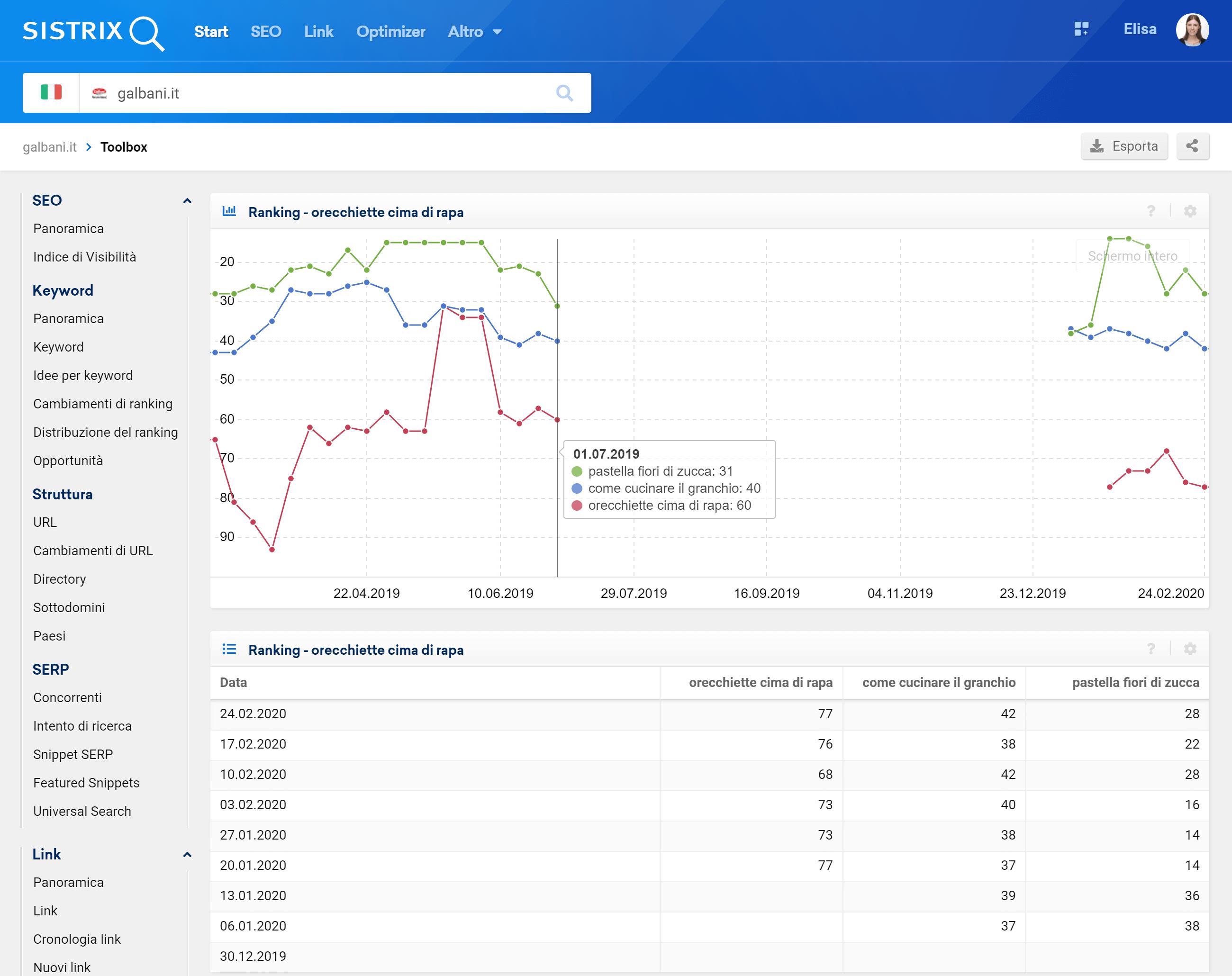 Toolbox SISTRIX: posizionamenti di alcune keyword di galbani.it nell'ultimo anno