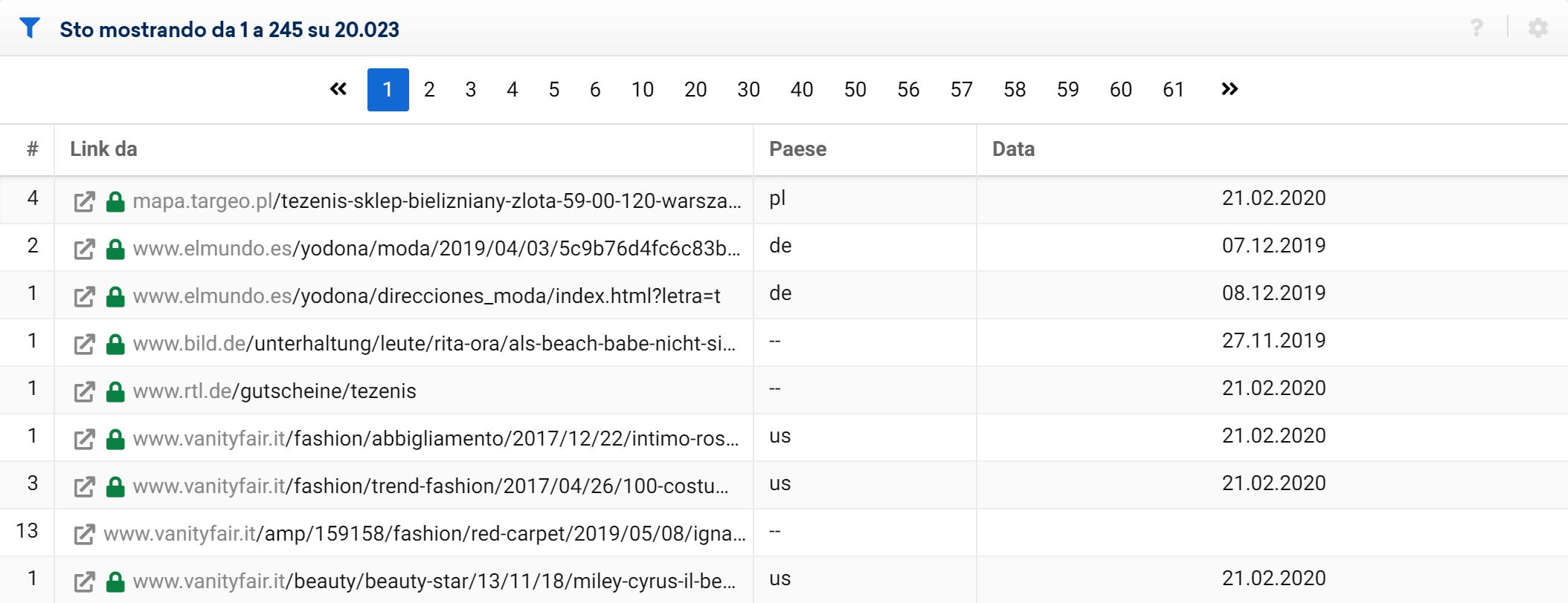 Data nella tabella dei link nel Toolbox SISTRIX