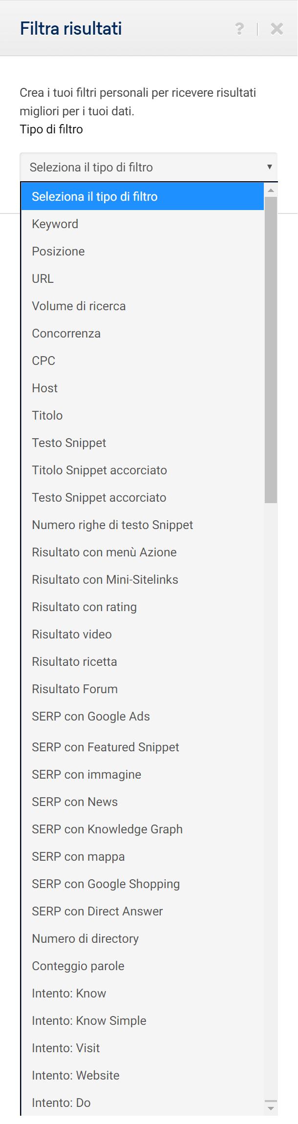 Totale dei filtri presenti nel Toolbox SISTRIX