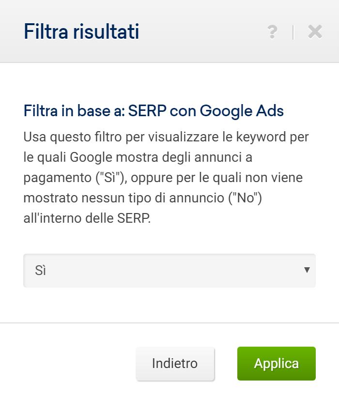 Filtro relativo alle Ads nel Toolbox SISTRIX