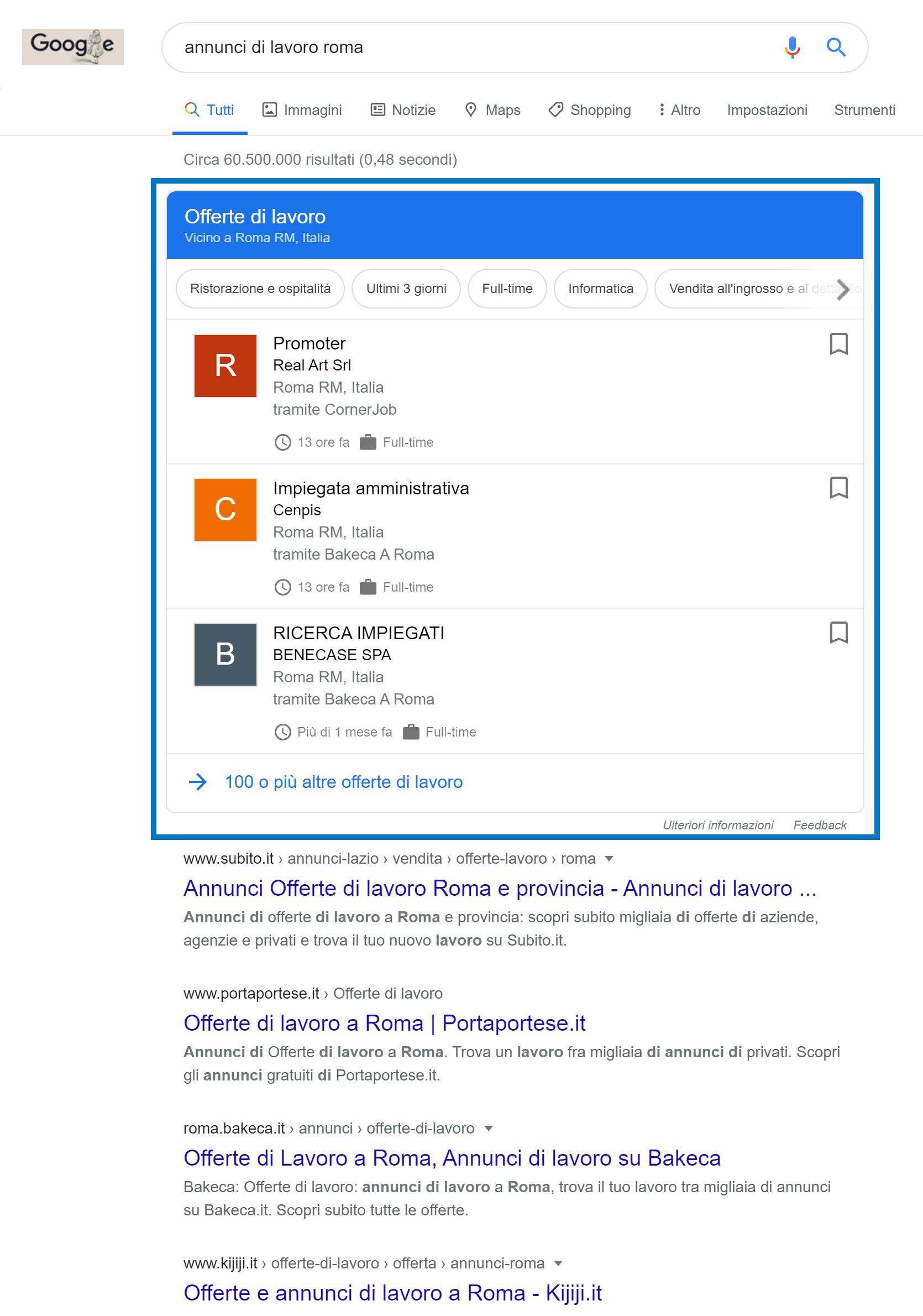 Box di Google nel settore delle offerte di lavoro