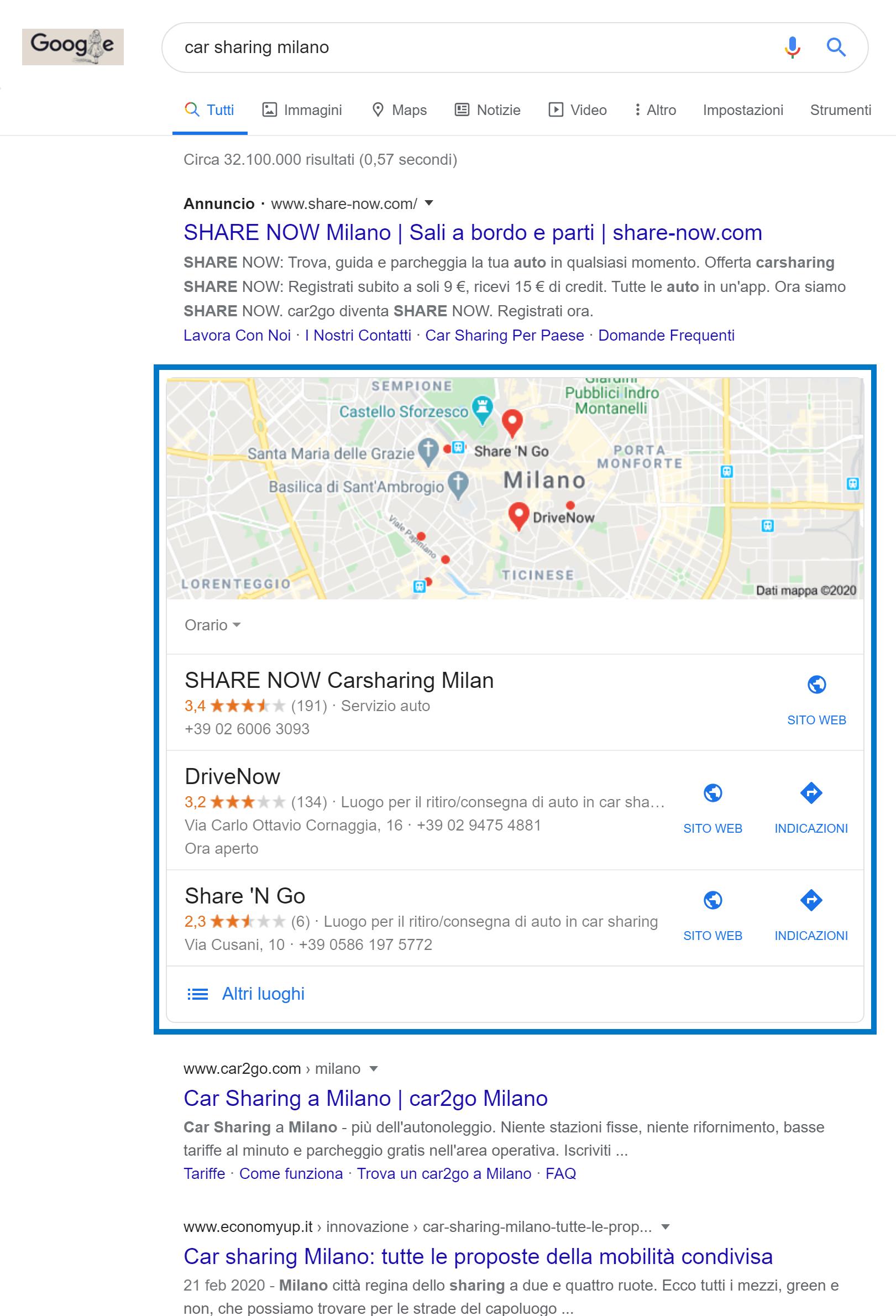 Box di Google nel settore del car sharing