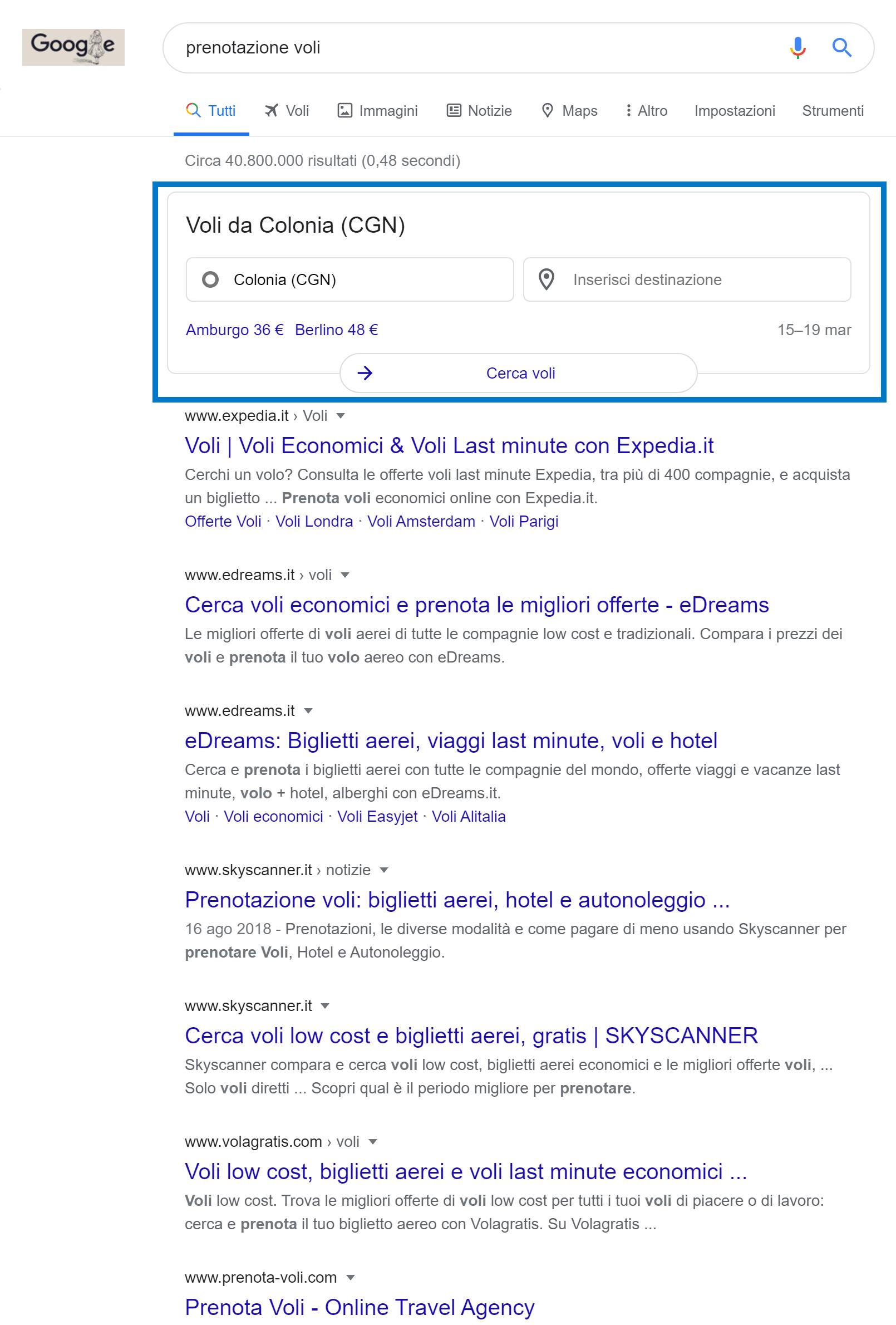 Box di Google nel settore dei voli