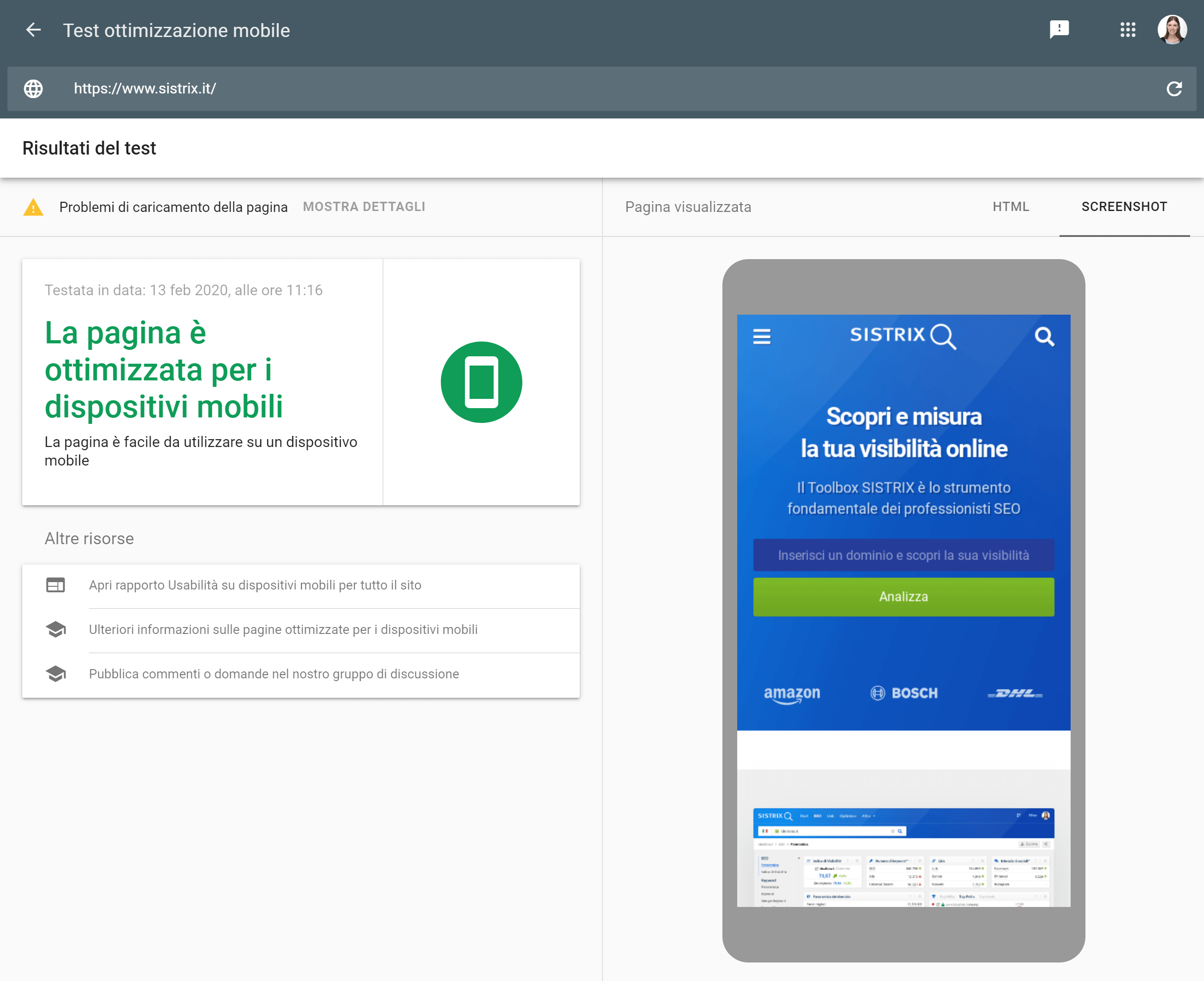Il test di ottimizzazione mobile offerto da Google
