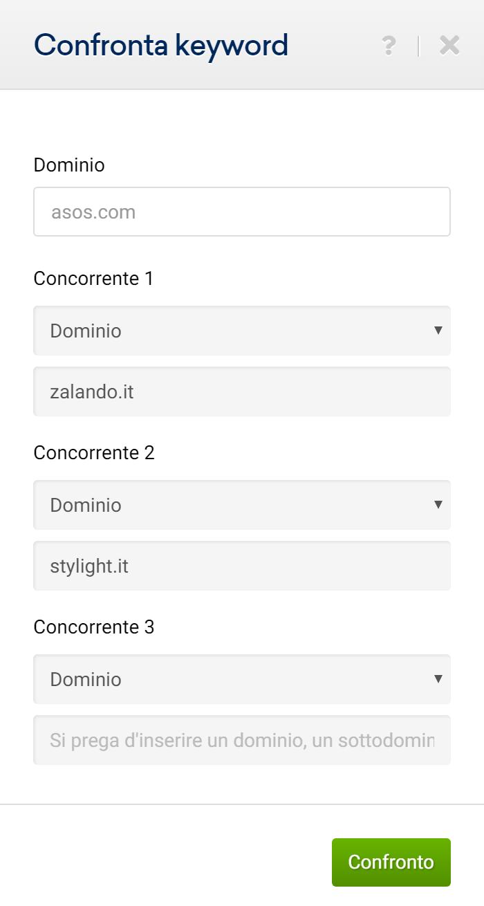 Finestra di input per confrontare le keyword in comune di più domini