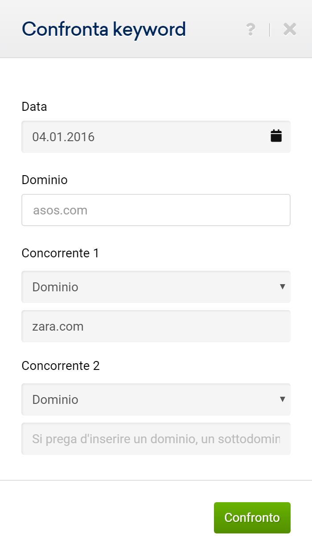 Toolbox SISTRIX: pannello di confronto delle keyword in comune tra asos.com e zara.com