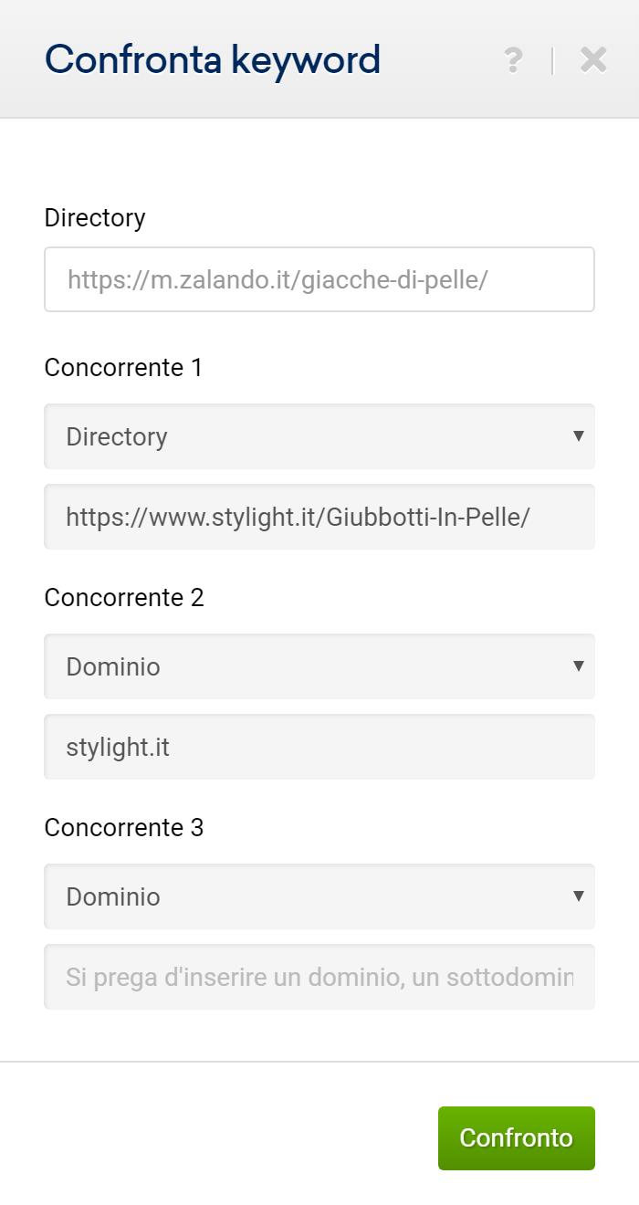 Confronto tra domini e directory concorrenti nella finestra d'input del Toolbox SISTRIX