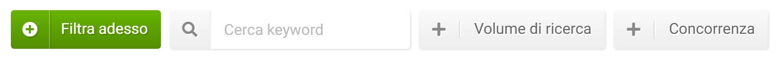 Filtri nel Toolbox SISTRIX - sezione keyword correlate