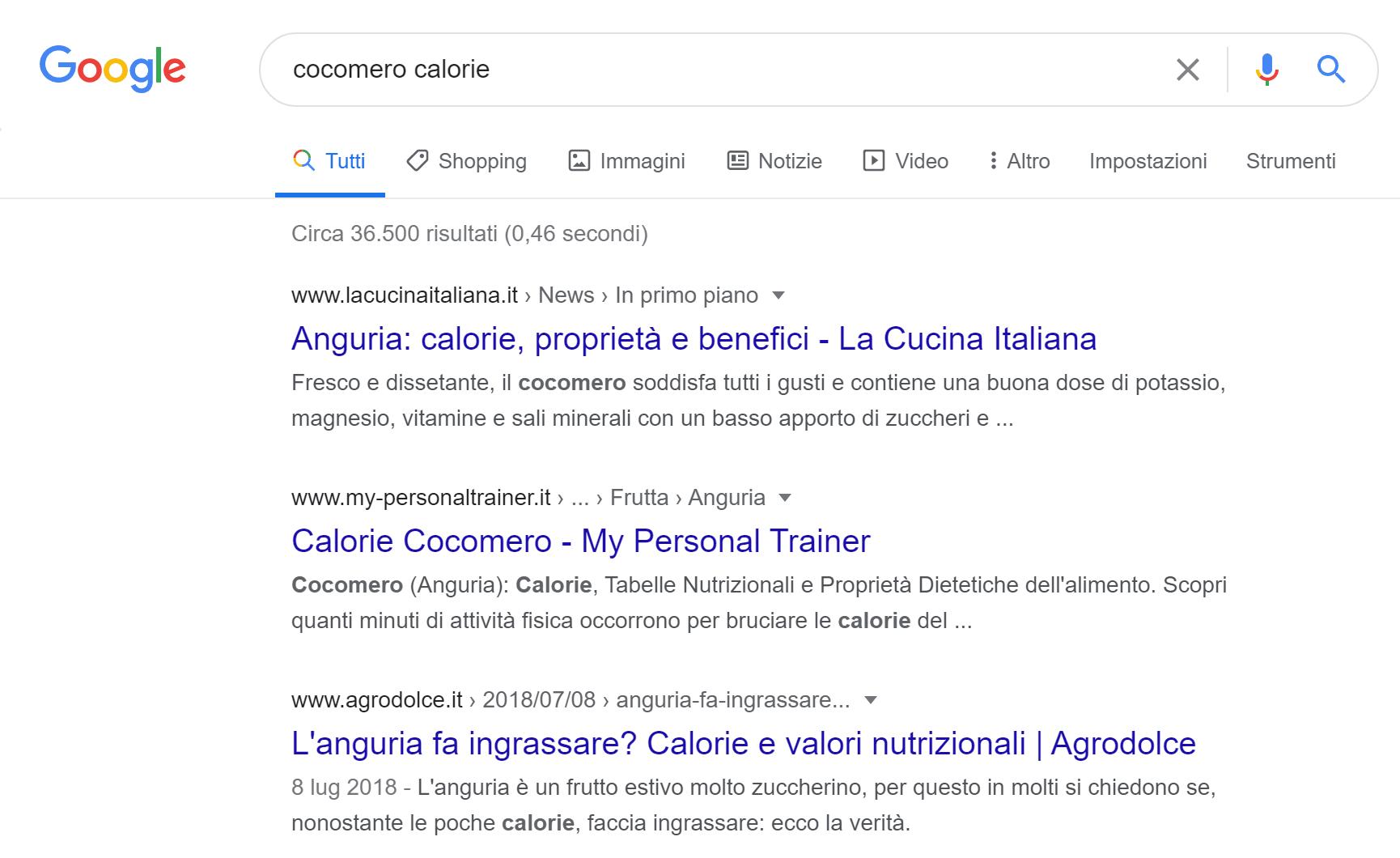 """La query """"cocomero"""" mostra anche i risultati per """"anguria"""""""