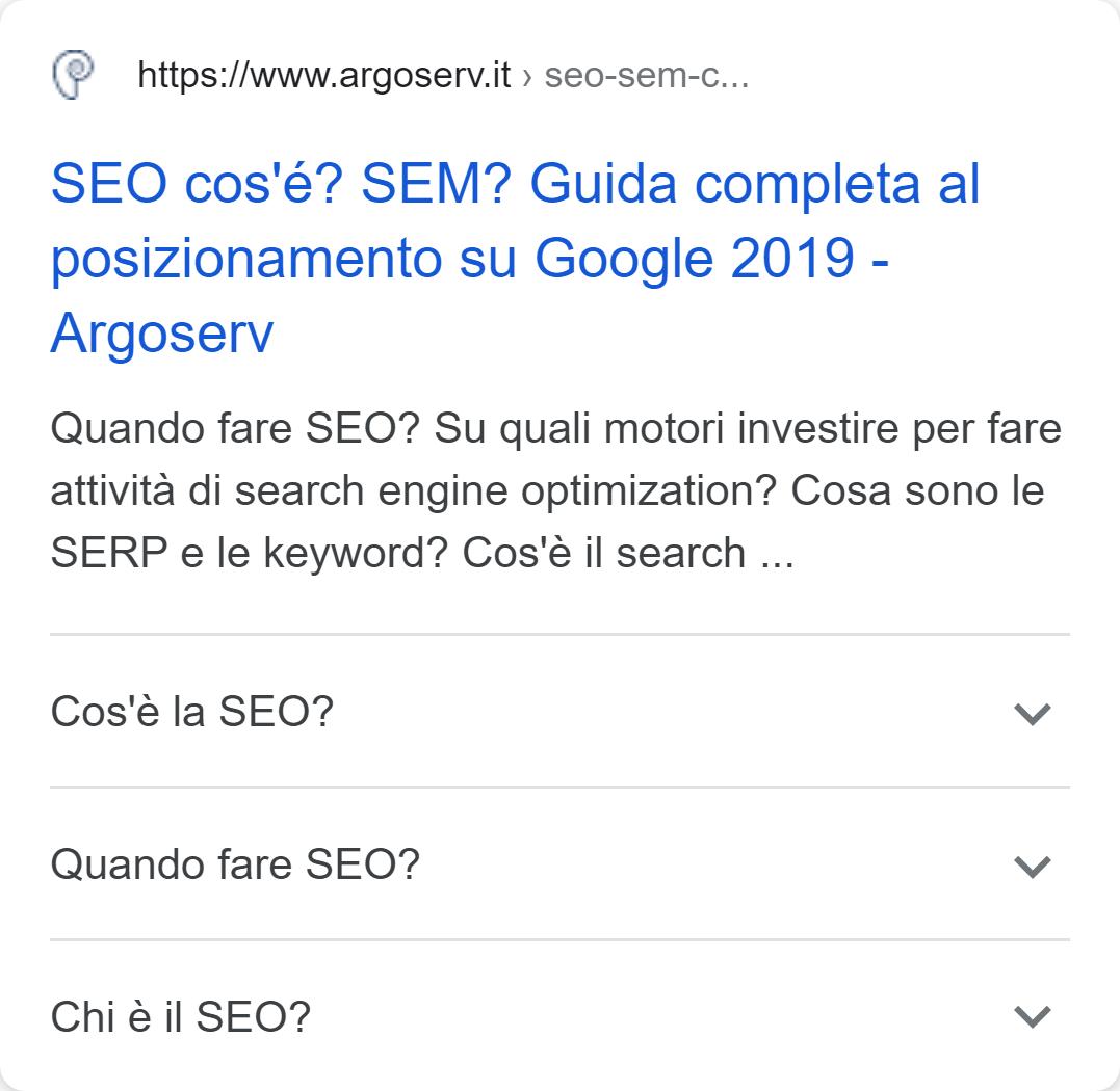 Esempio di rich snippet con FAQ