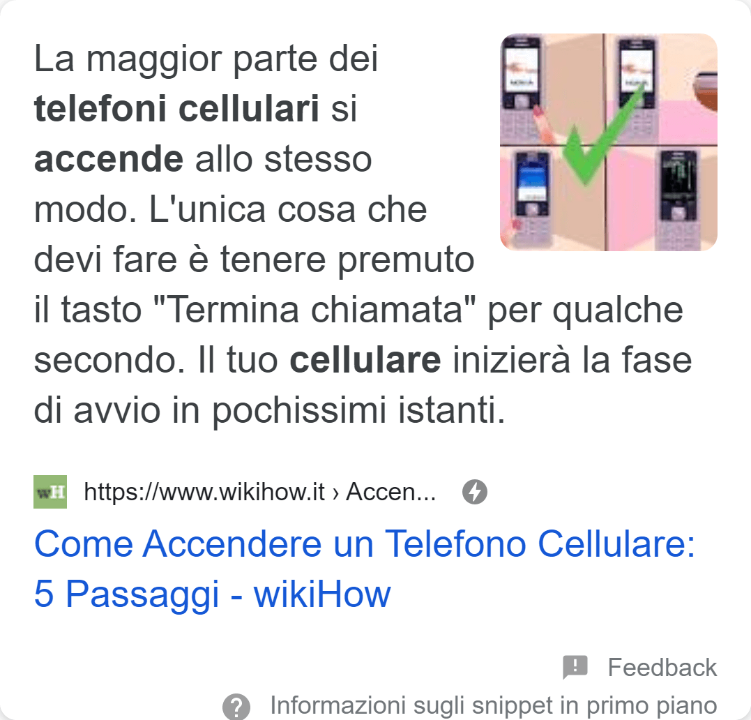 Esempio di Featured Snippet