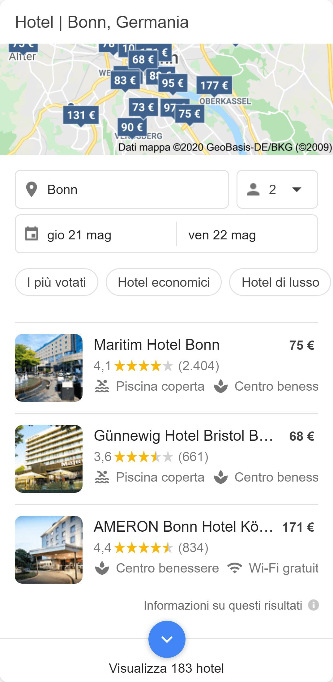 Esempio di ricerca verticale per gli hotel