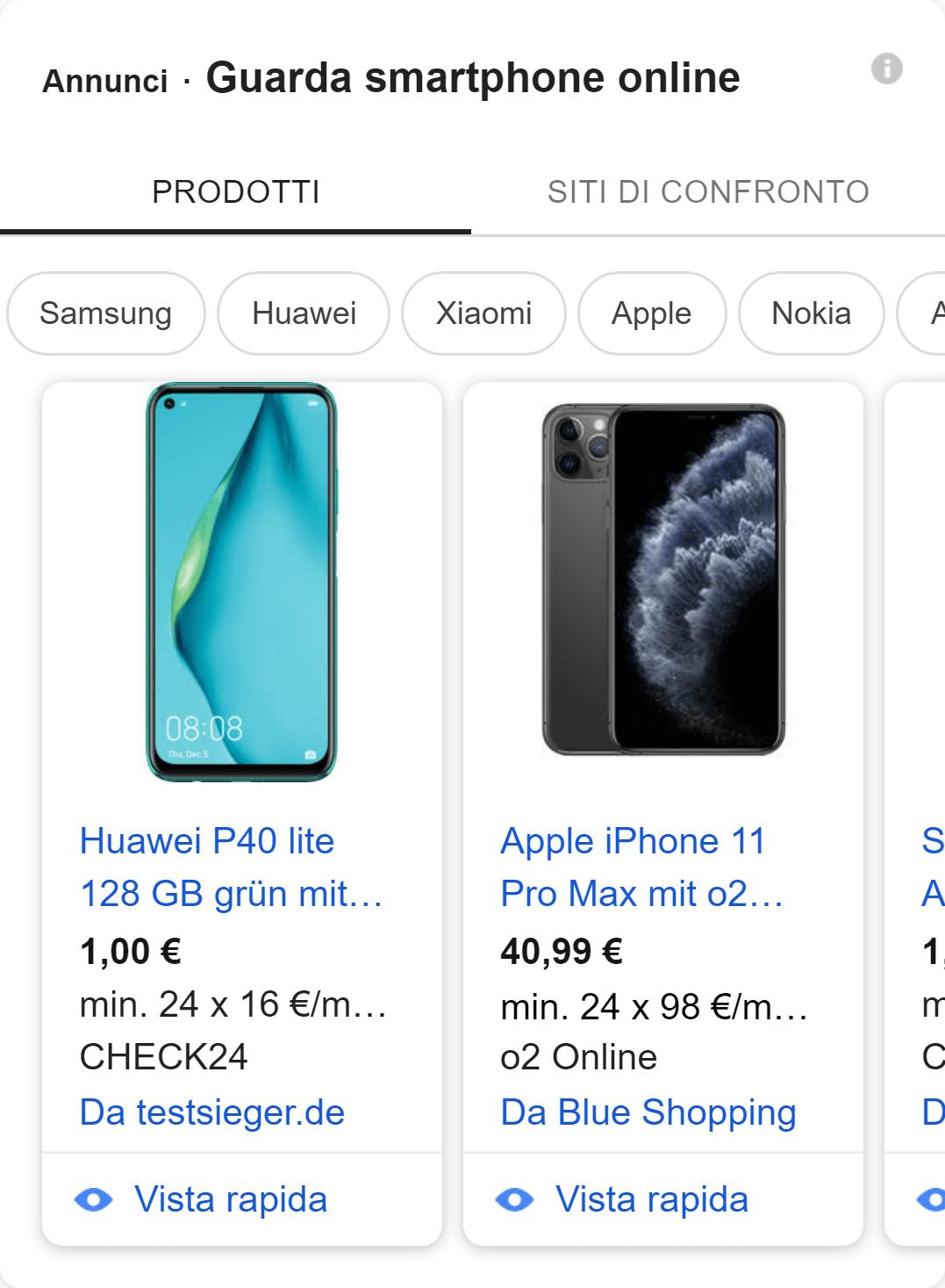 Esempio di annuncio Google Shopping