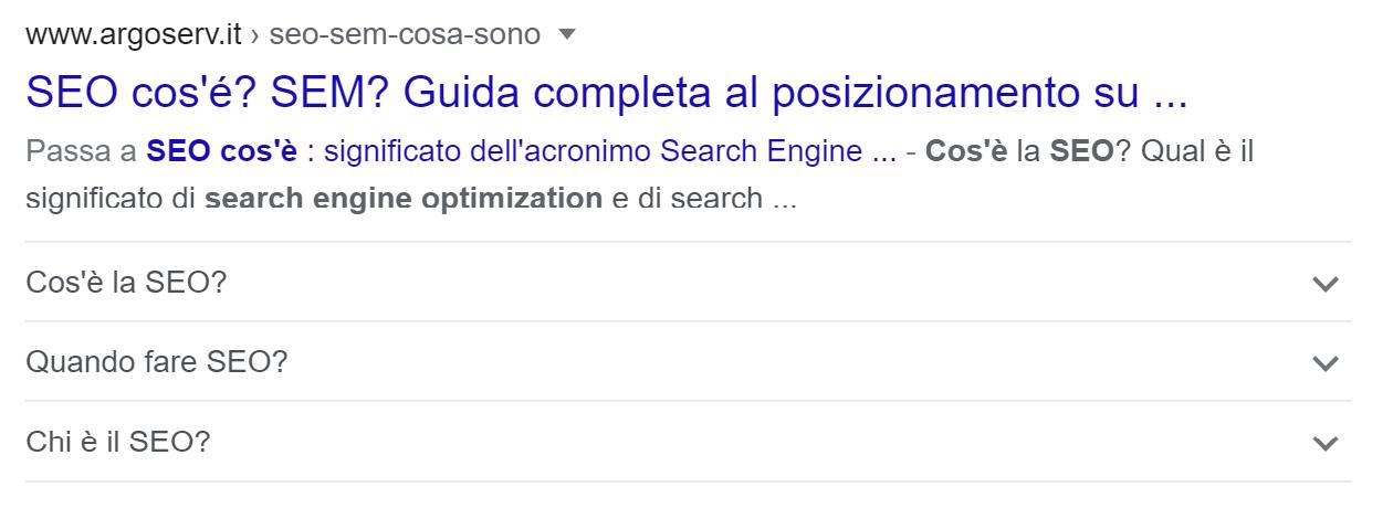 Esempio di risultato FAQ su desktop