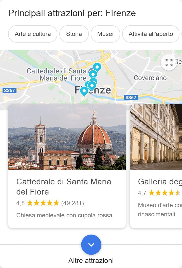 Integrazione di Google sulle attrazioni turistiche