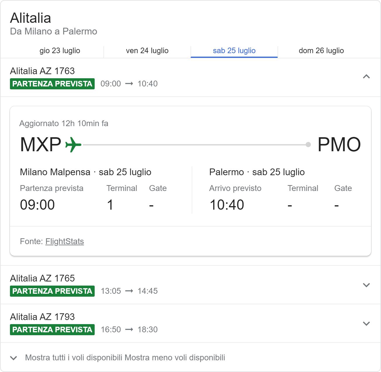 Integrazione di Google con informazioni sugli aerei