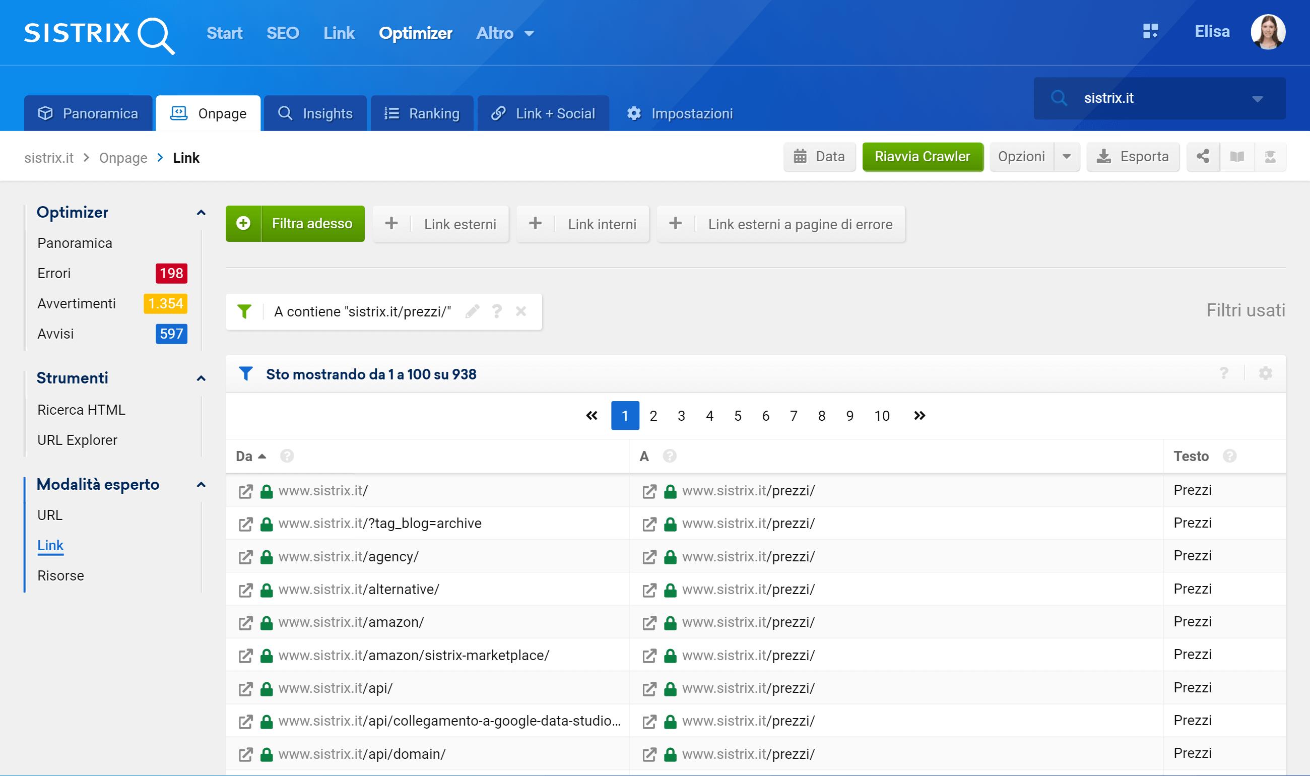 Nell'Optimizer SISTRIX è possibile controllare l'Anchor Text dei link interni di un sito