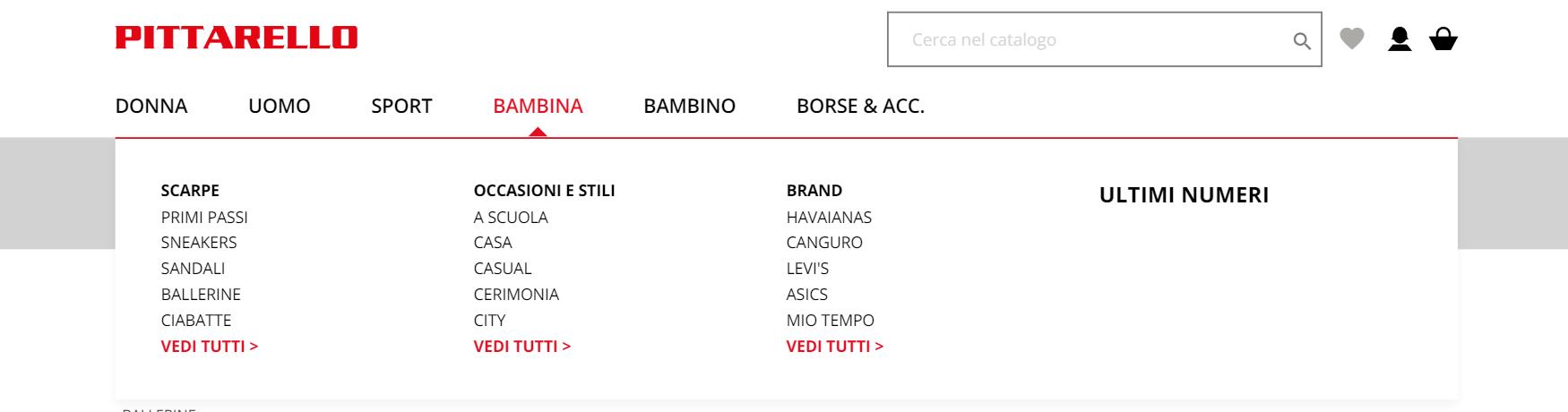 Esempio di menù con link a brand