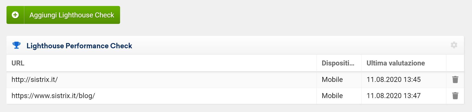 Optimizer SISTRIX: aggiungi più URL per vederne i Core Web Vital