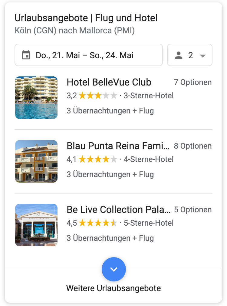SERP Feature che mostra voli e hotel (tedesco)