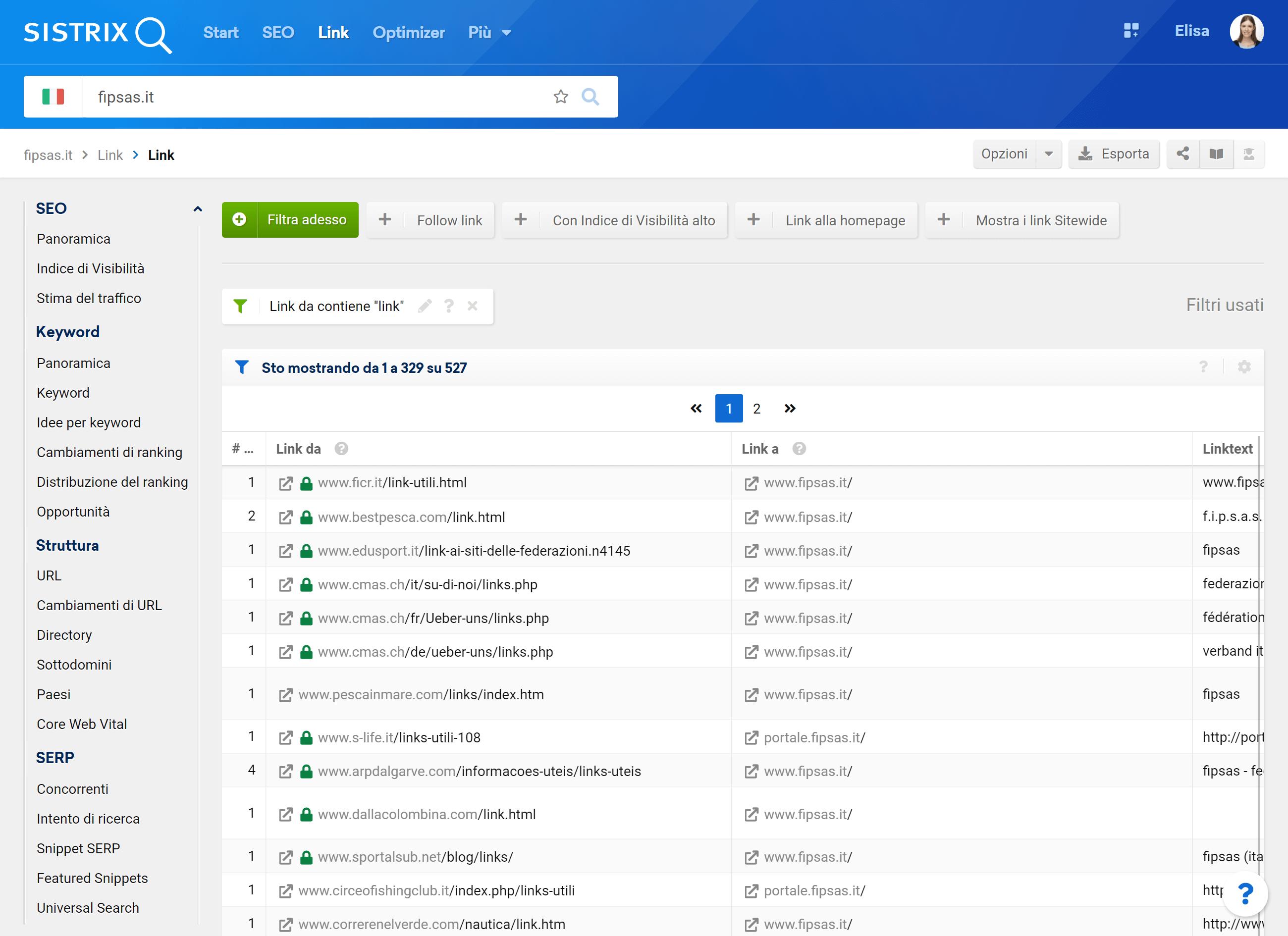 Il sito fipsas.it riceve anche backlink da siti con liste di link