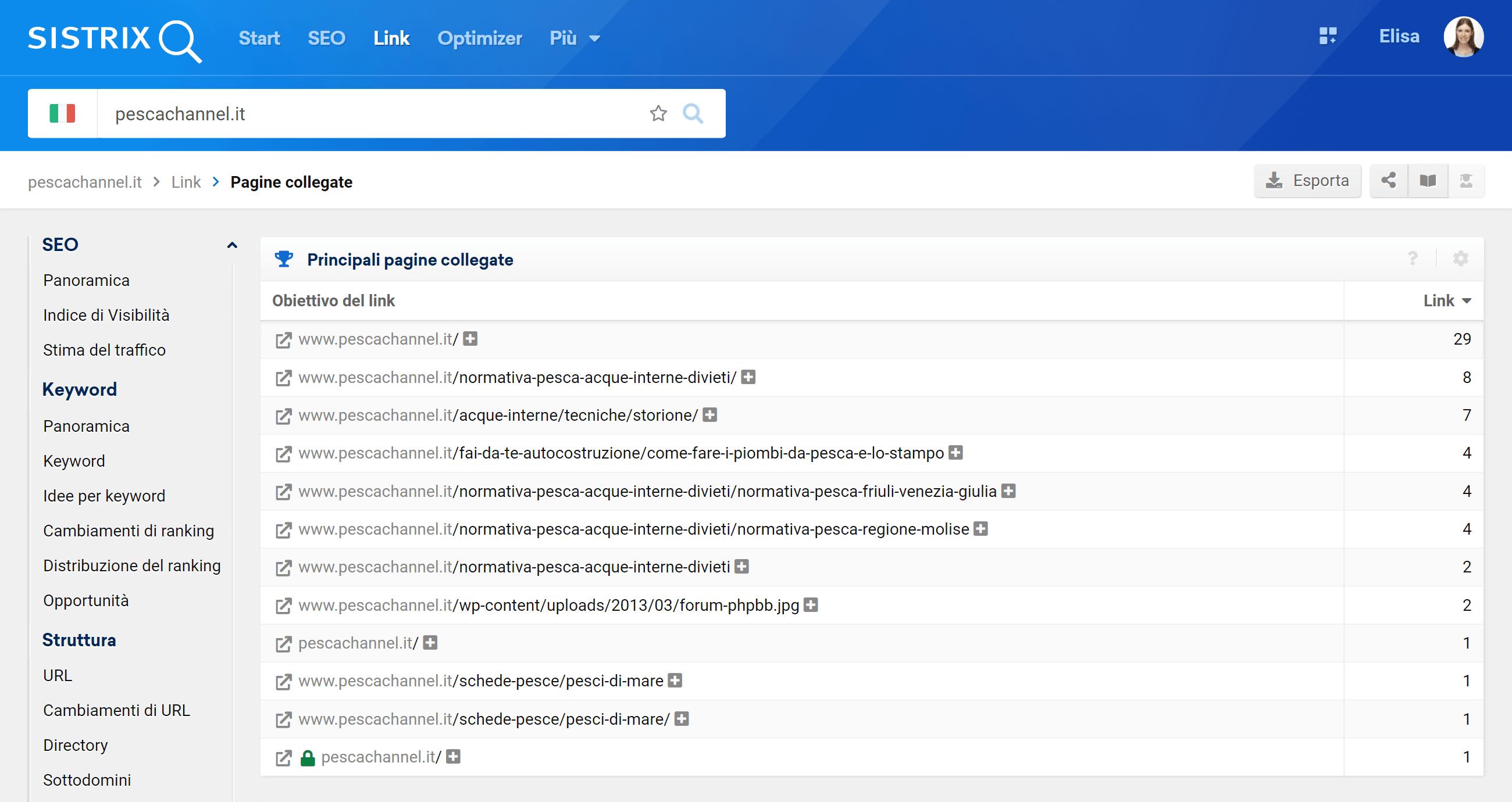 Pagine che ricevono più link di pescachannel.it - SISTRIX