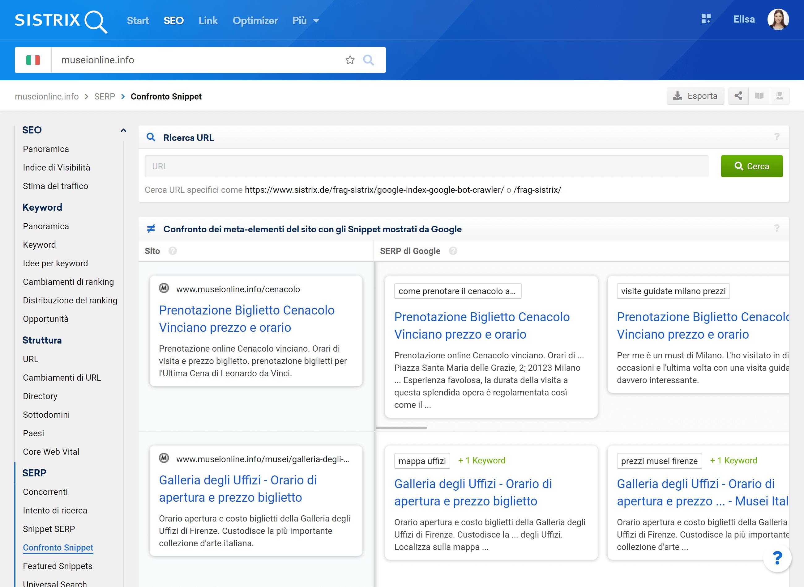 La nuova funzione di SISTRIX per confrontare Title e Description degli Snippet