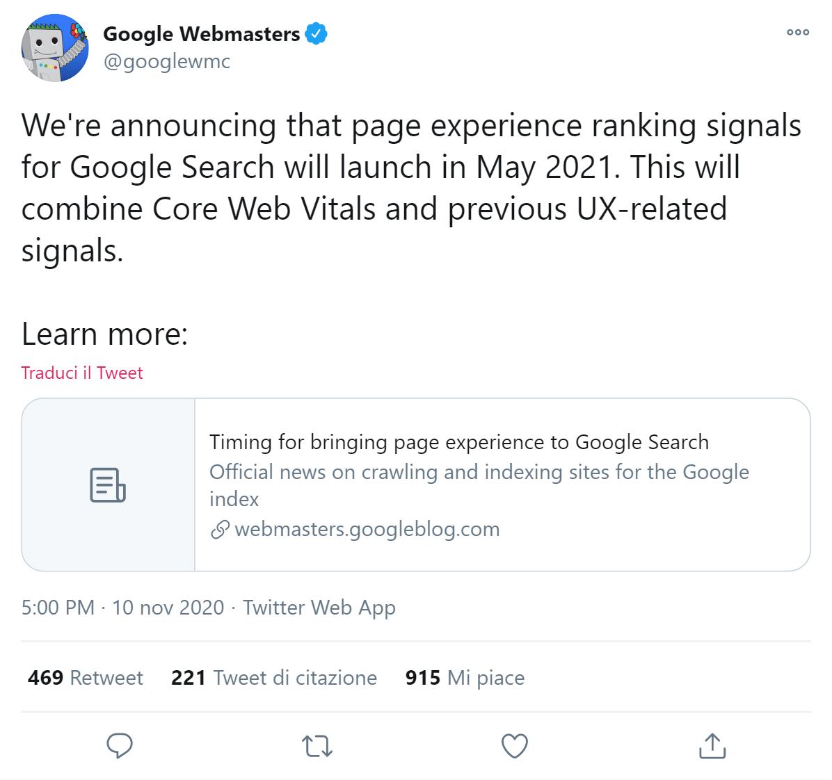 Tweet di Google sui Core Web Vital
