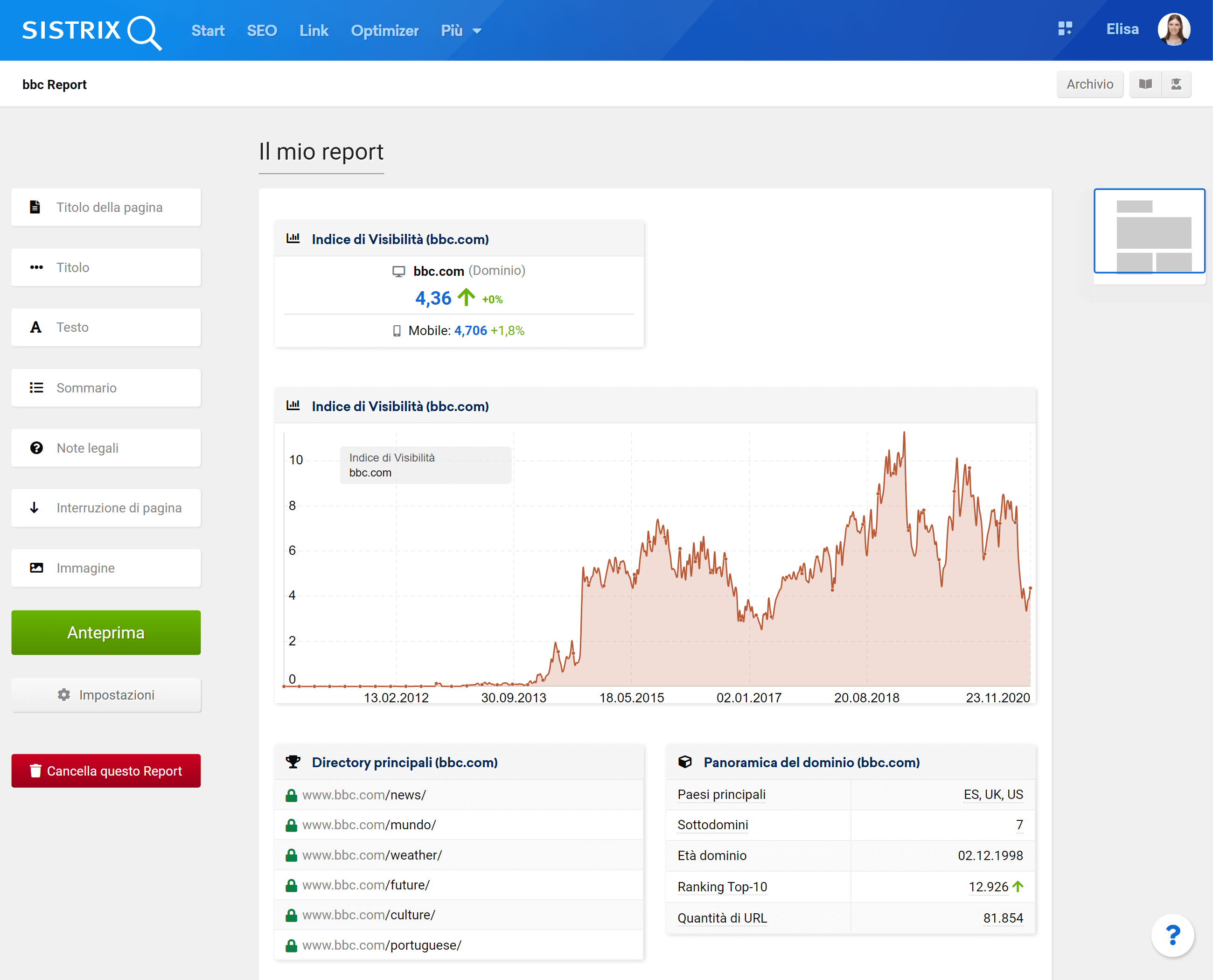 Esempio di report su SISTRIX