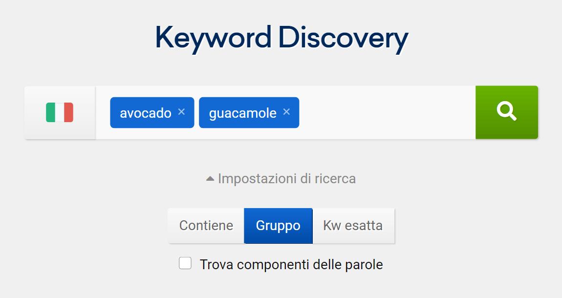 Il tool Keyword Discovery su SISTRIX