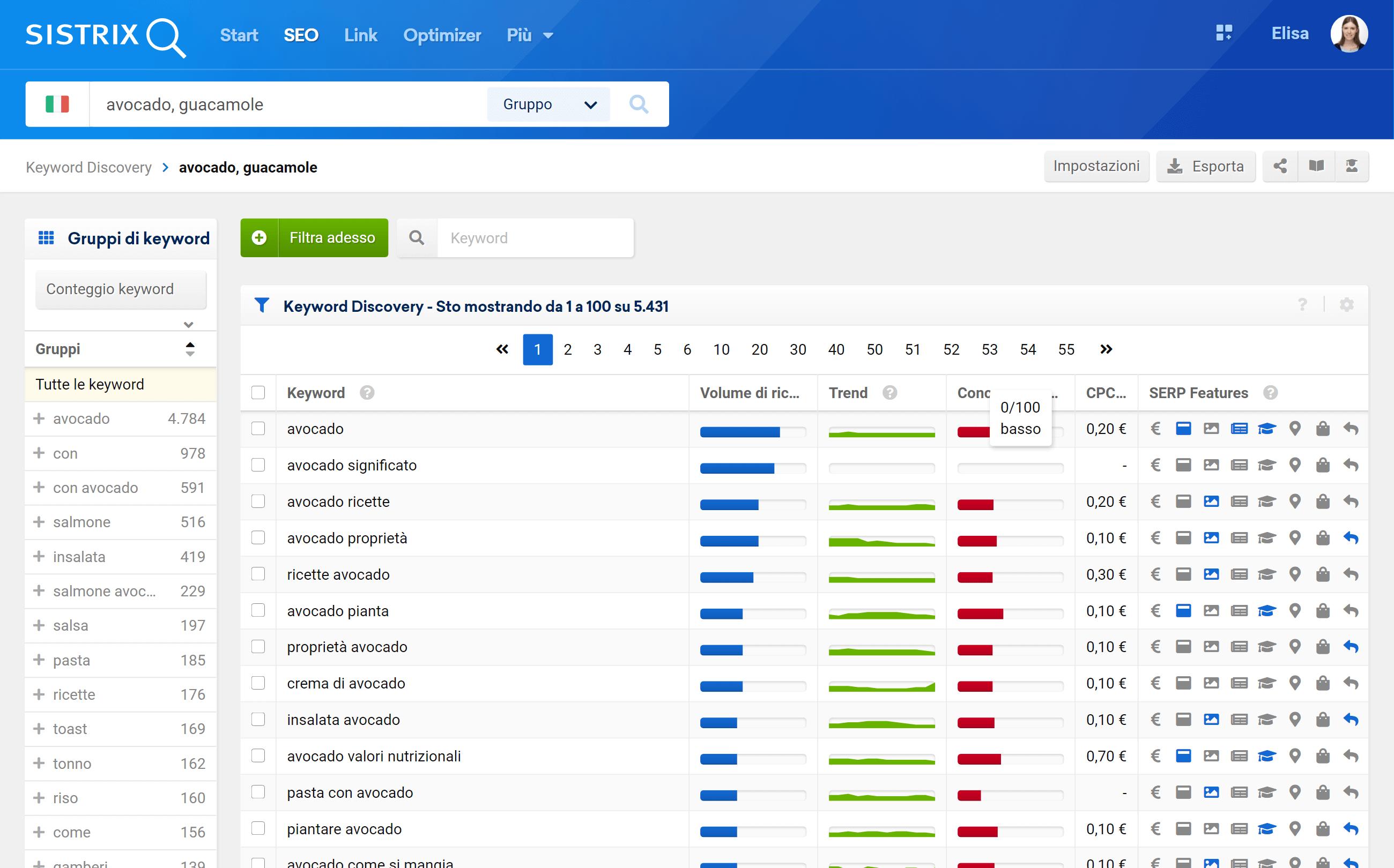 Analisi del tool Keyword Discovery per due keyword d'esempio
