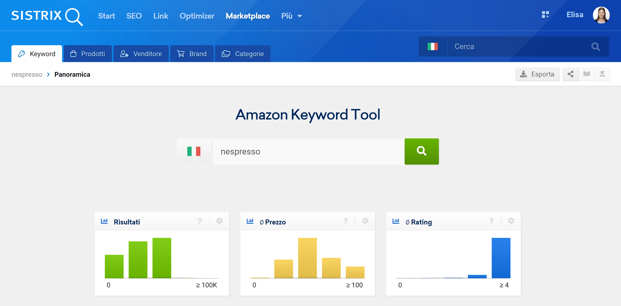 L'Amazon Keyword Tool di SISTRIX
