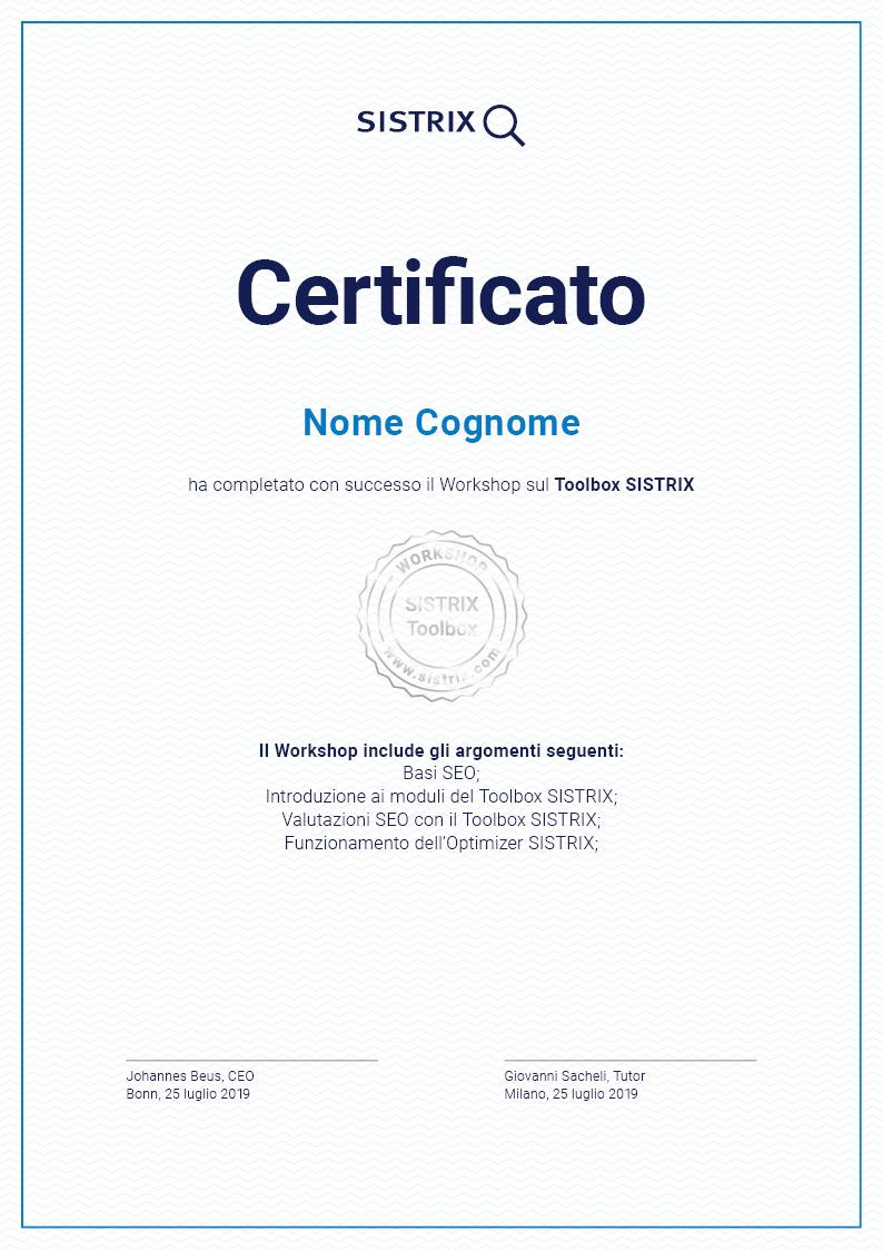 Il certificato personale di SISTRIX