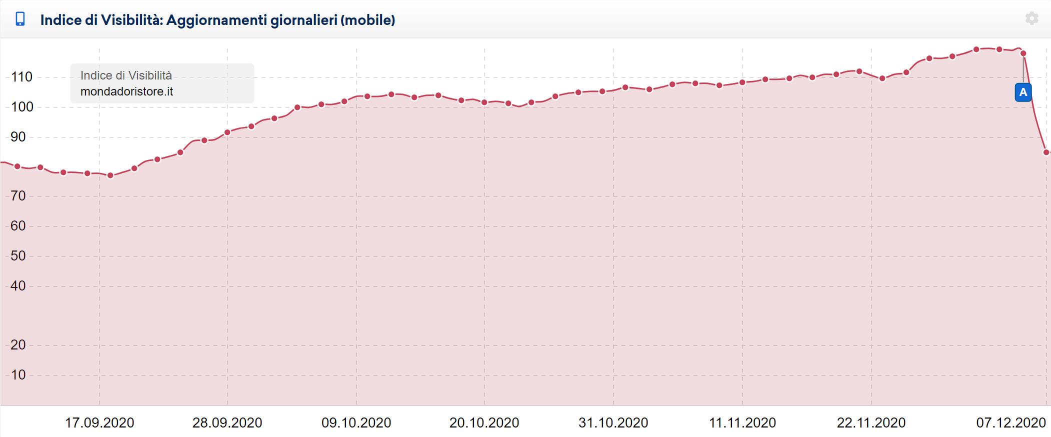 Esempio di dominio colpito dal December 2020 Core Update