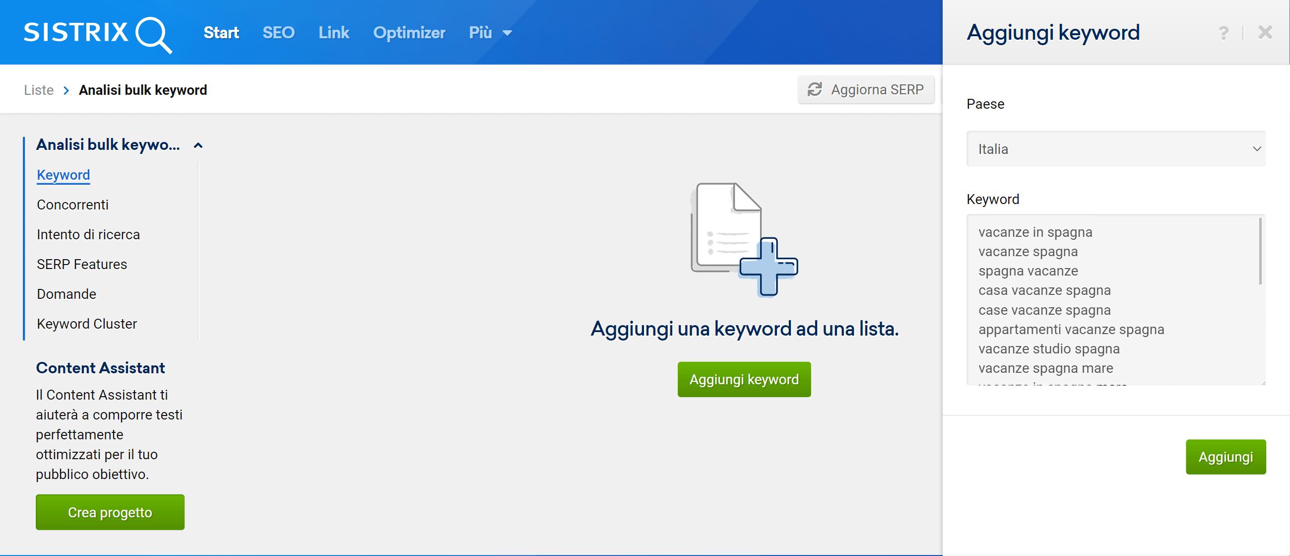 Come inserire delle keyword in una lista