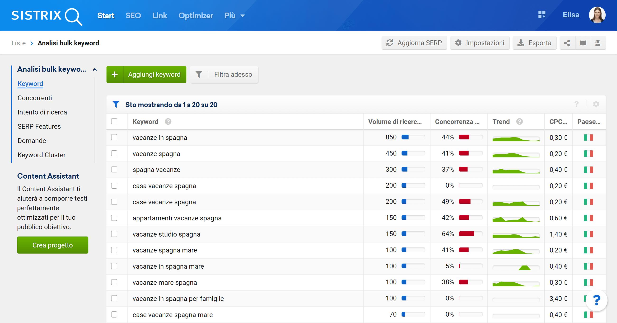 Esempio di lista di keyword su SISTRIX