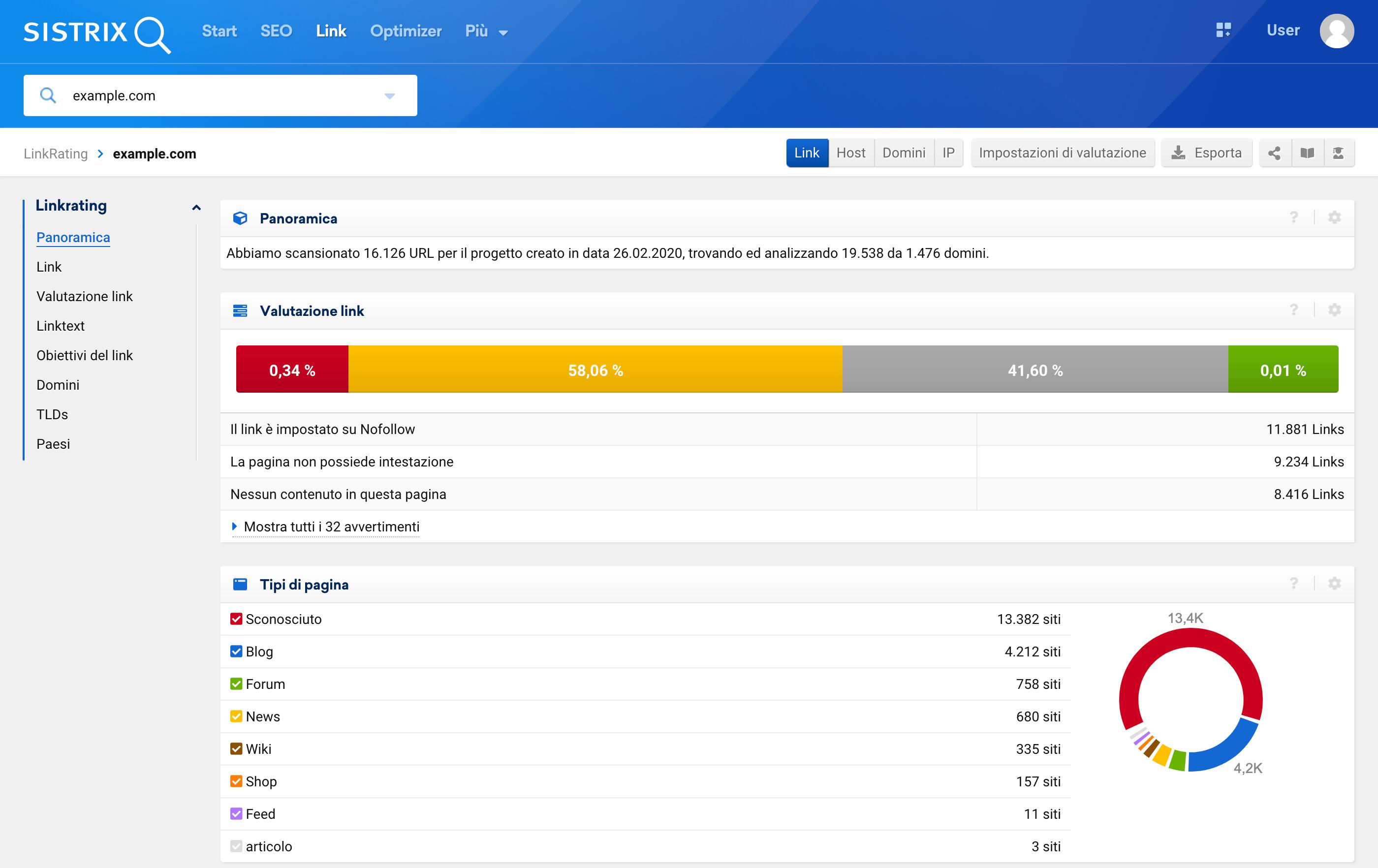 Il Toolbox indicherà errori, categorie e suggerimenti relativi ai tuoi link per aiutarti nella valutazione.