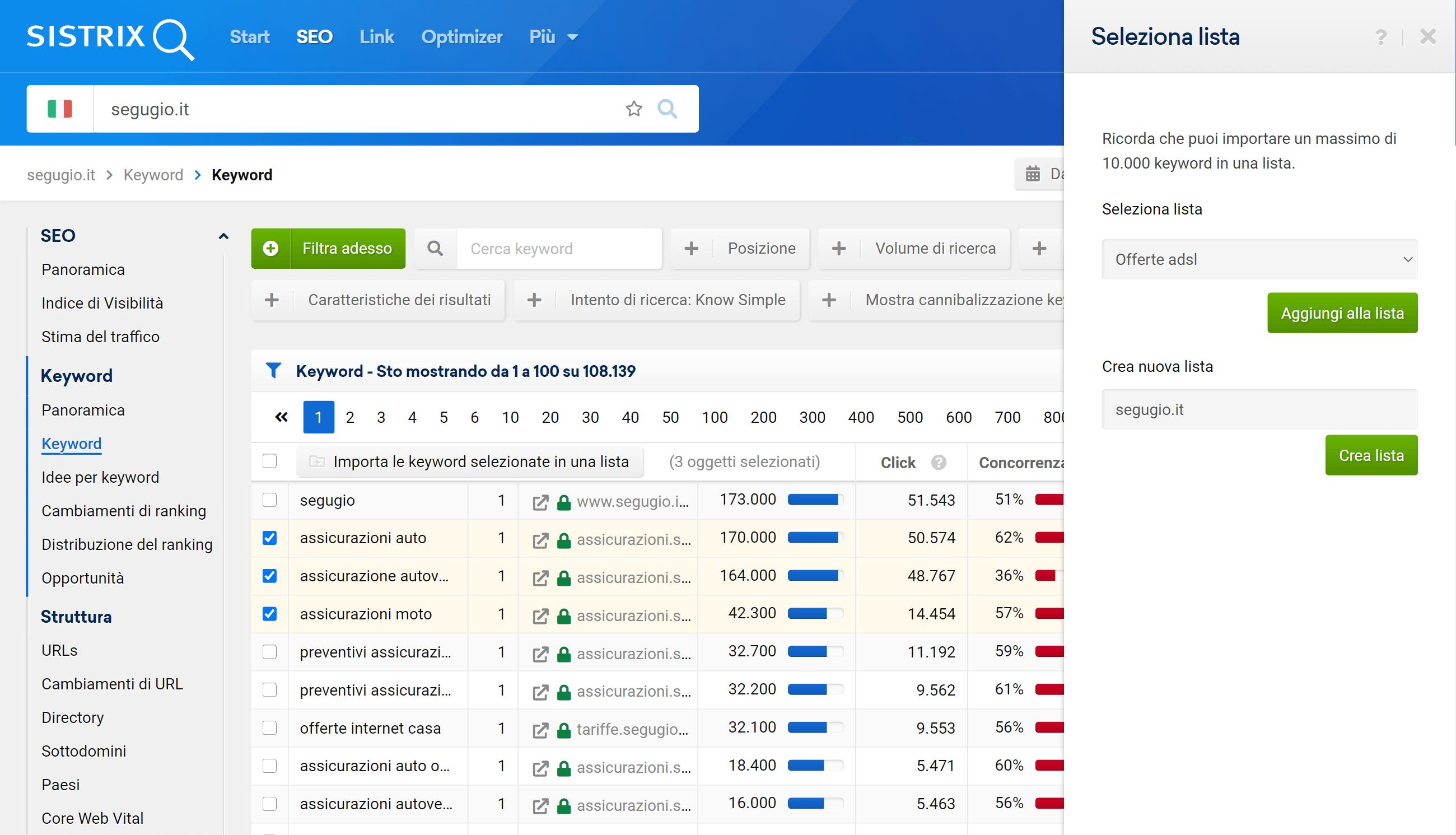 Come aggiungere una keyword ad una lista nel Toolbox SISTRIX