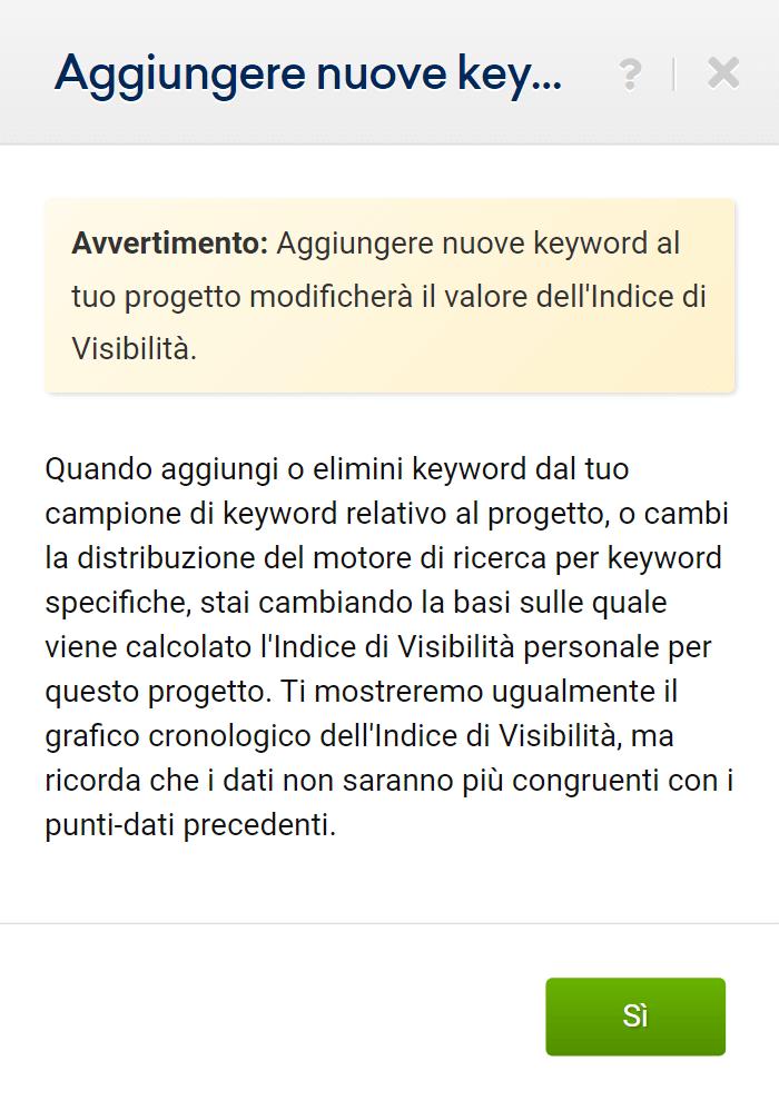 Avvertimento per l'aggiunta di keyword