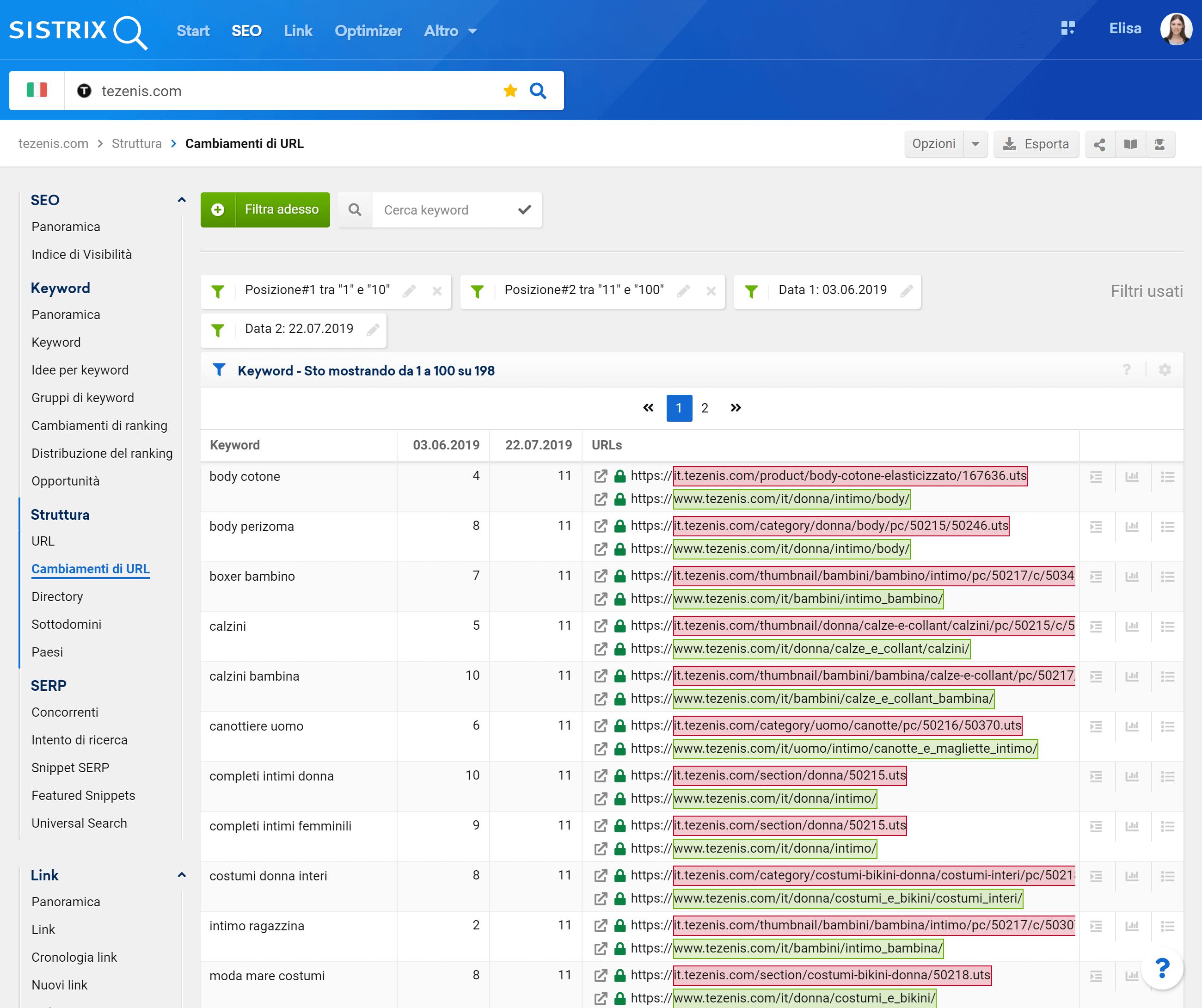 Cambiamenti di URL di tezenis.com nel Toolbox SISTRIX. Tabella con filtri.