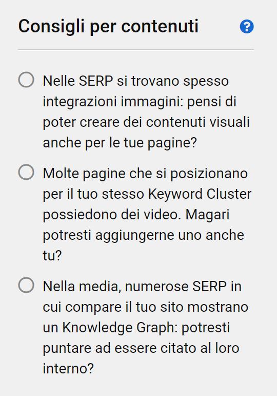 Esempi di consigli per i contenuti in un progetto del Content Assistant