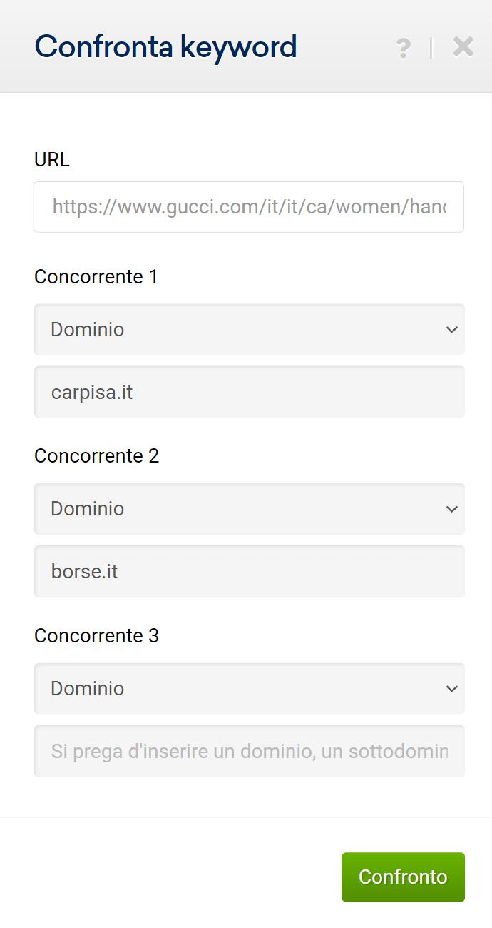 Finestra per il confronto tra più domini nel Toolbox